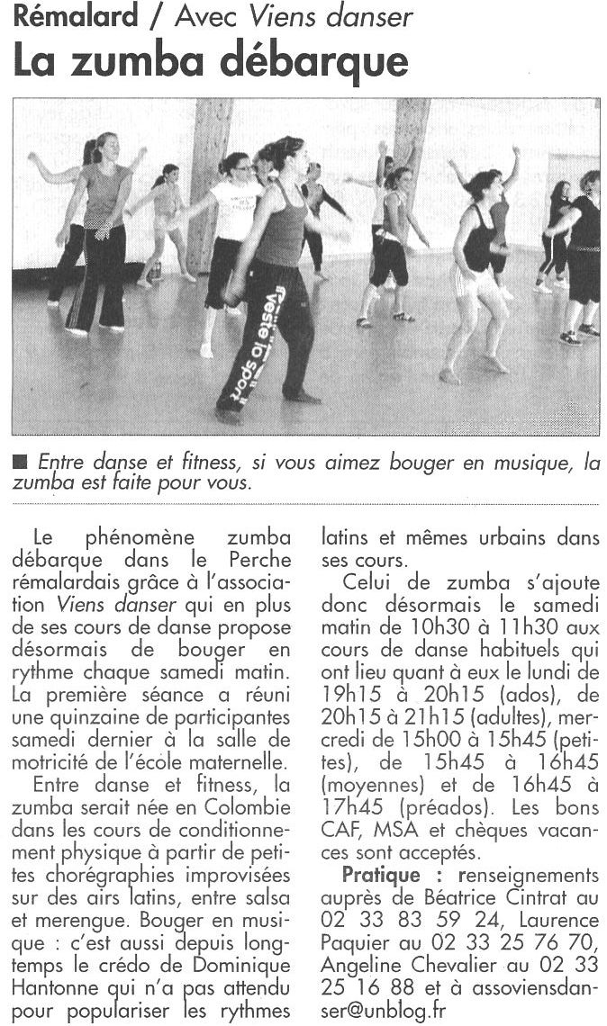 association viens danser la zumba dans le journal le perche du 5 octobre 2011. Black Bedroom Furniture Sets. Home Design Ideas