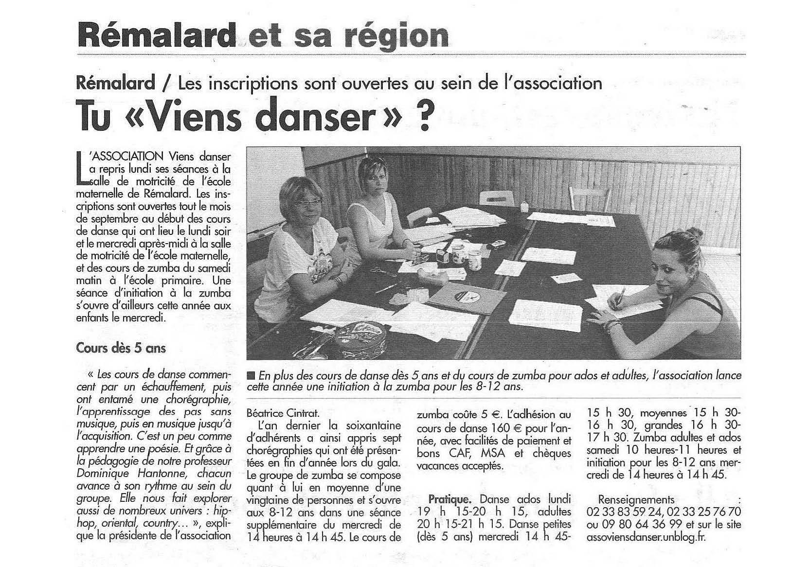 Association viens danser article du journal le perche du 19 septembre - Le journal le perche ...