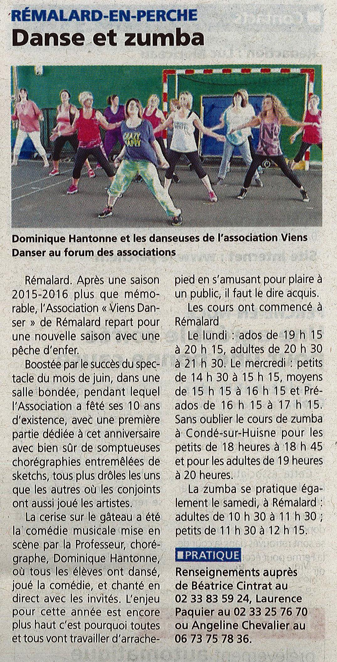 Association viens danser article dans le journal le perche du 21 septembre - Le journal le perche ...